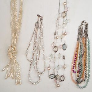 Lot of 4 Retro Necklaces (pearls, beads, multi)